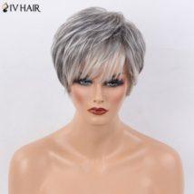 Siv Hair Short Side Bang Natural Straight Layered Human Hair Wig