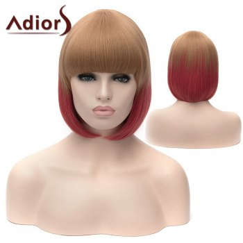 Adiors Silky Straight Short Bob Full Bang Double Color Synthetic Wig