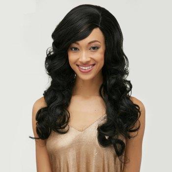 Long Body Wave Side Bang Front Lace Human Hair Wig
