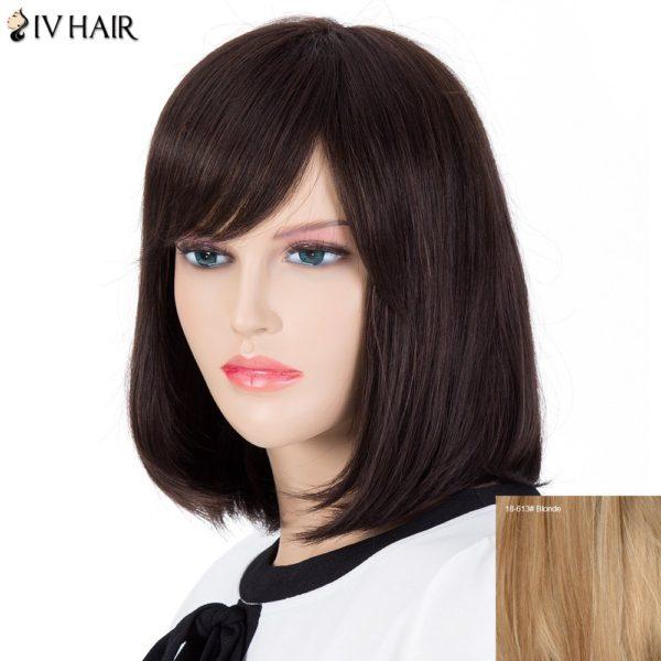 Bob Style Women's Inclined Bang Siv Hair Human Hair Wig