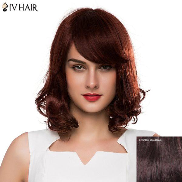 Fashion Medium Human Hair Shaggy Wave Side Bang Siv Hair Capless Wig For Women