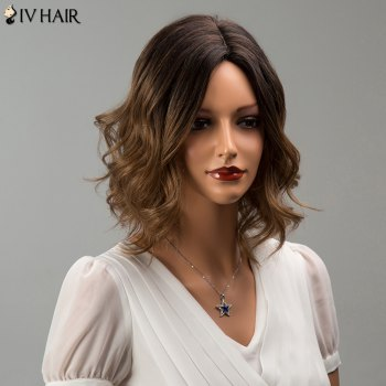 Siv Hair Mixed Color Short Middle Part Wavy Human Hair Wig
