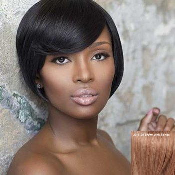 Women's Stylish Inclined Bang Short Human Hair Wig