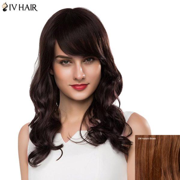 Charming Long Side Bang Human Hair Bouffant Wave Siv Hair Capless Wig For Women