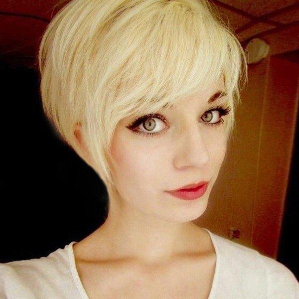 Cute Short Fluffy Side Bang Human Hair Wig For Women