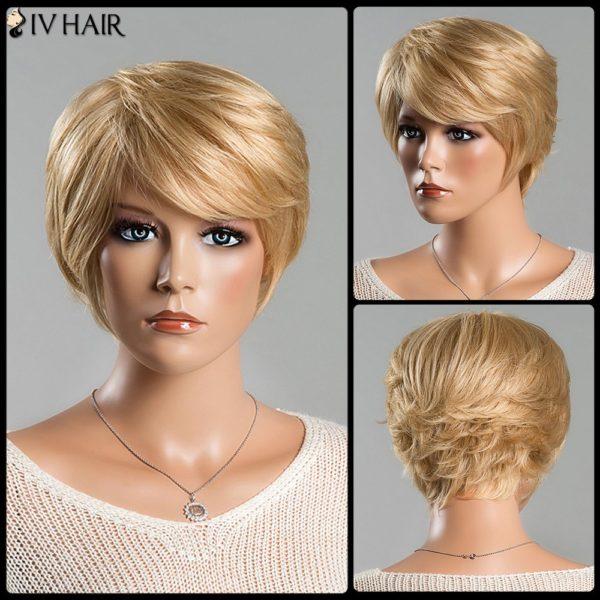 Women's Short Fluffy Straight Tail Upwards Spiffy Side Bang Siv Human Hair Wig
