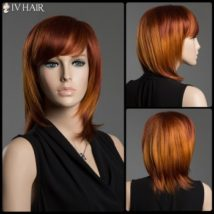 Multi-Colored Medium Side Bang Human Hair Straight Siv Hair Capless Wig