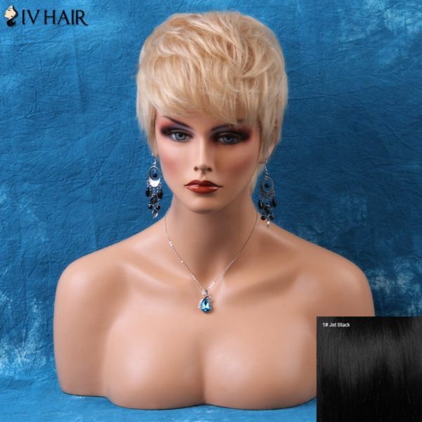 Siv Short Pixie Layered Straight Side Bang Human Hair Wig