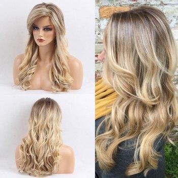 Long Inclined Bang Gradient Colormix Wavy Human Hair Wig
