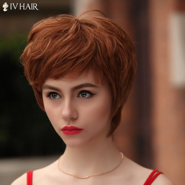 Vogue Short Multicolor Fluffy Natural Wave Siv Hair Human Hair Wig For Women