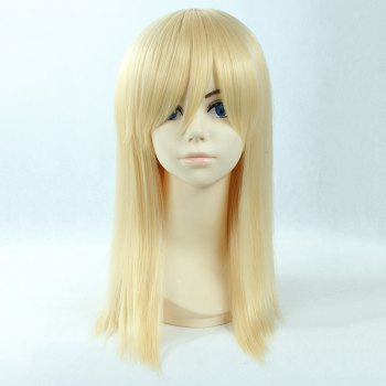 Attractive Side Bang Light Blonde Fashion Long Straight Synthetic Christa Lenz Cosplay Wig