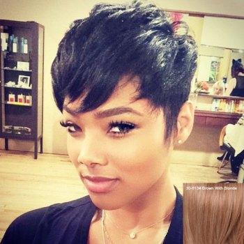 Women's Stylish Layered Short Human Hair Wig