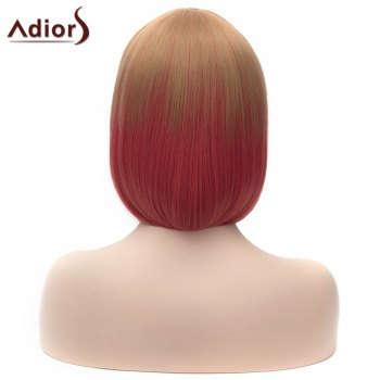 Adiors Silky Straight Short Bob Full Bang Double Color Synthetic Wig