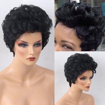 Short Bouffant Curly Human Hair Wig