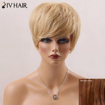Short Fluffy Straight Side Bang Handsome Siv Human Hair Wig