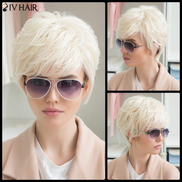 Siv Human Hair Short Fluffy Side Bang Straight Wig