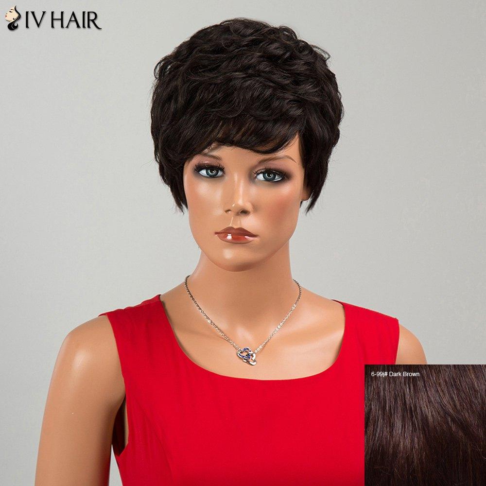 Siv Hair Neat Bang Short Fluffy Layered Curly Human Hair Wig