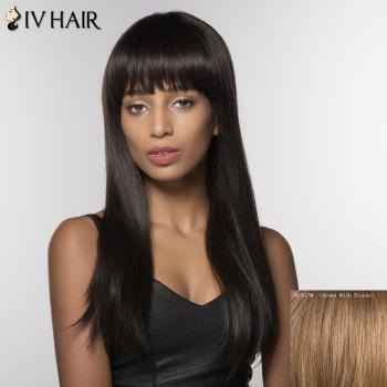 Fascinating Long Neat Bang Straight Siv Hair Human Hair Wig