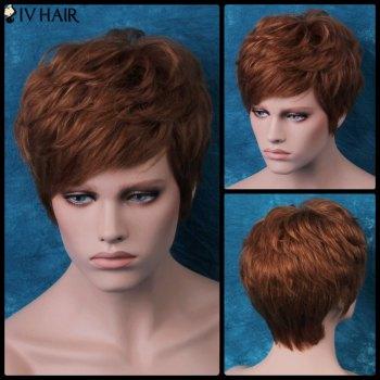 Siv Layered Slightly Curled Short Side Bang Human Hair Wig