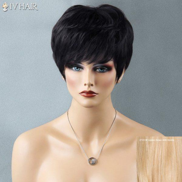 Shaggy Short Full Bang Straight Siv Human Hair Wig