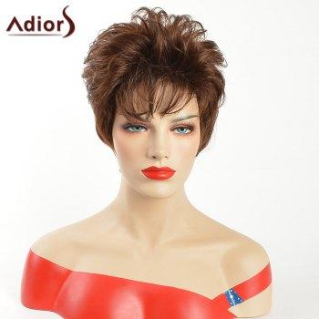 Adiors Short Oblique Bang Layered Natural Straight Synthetic Wig
