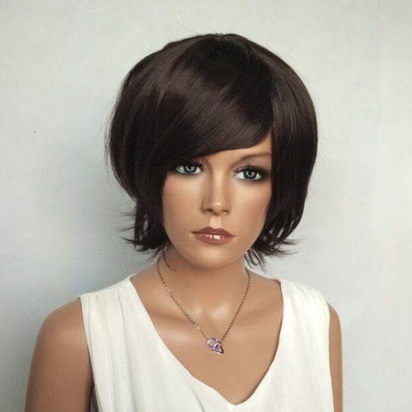 Short Shaggy Side Bang Glossy Straight Synthetic Wig