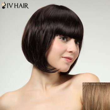 Charming Siv Hair Straight Full Bang Bobo Style Women's Human Hair Wig