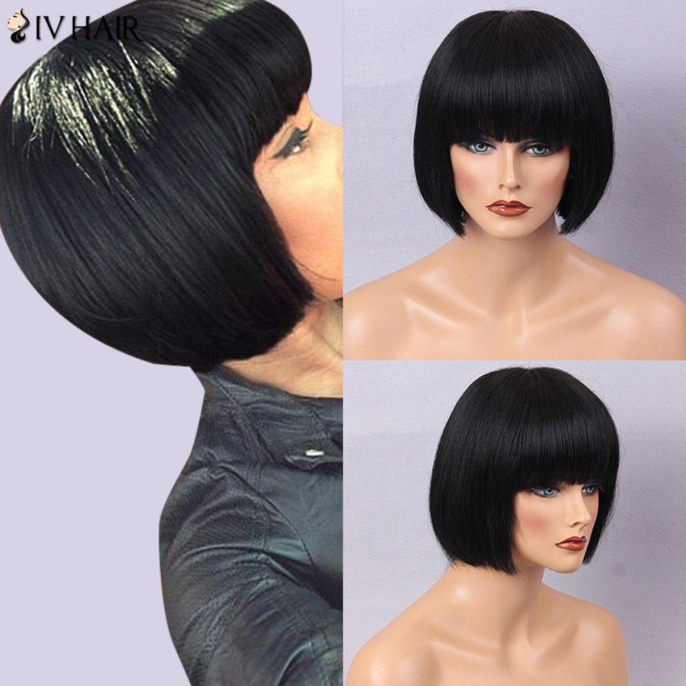 Siv Hair Full Bang Bob Silky Straight Short Human Hair Wig