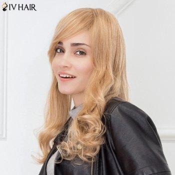Siv Hair Fluffy Inclined Bang Long Natural Wave Human Hair Wig