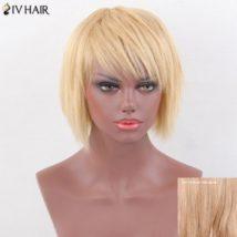 Siv Hair Layered Short Oblique Bang Straight Pixie Human Hair Wig