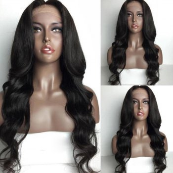 Long Loose Wave Middle Part Lace Front Human Hair Wig