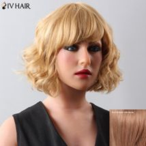 Women's Stylish Curly Medium Siv Hair Human Hair Wig
