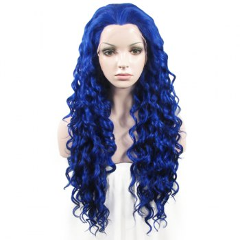 Long Lace Front Towheaded Curly Heat Resistant Fiber Vogue Blue Wig For Women