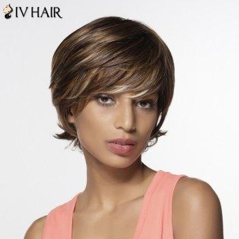 Shaggy Human Hair Women's Side Bang Short Wig