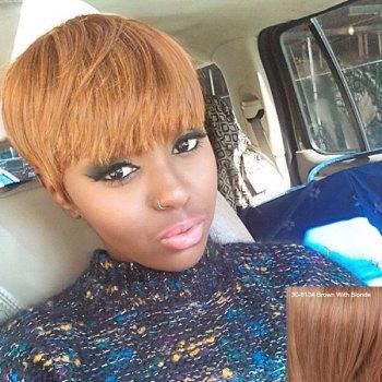 Fashion Short Straight Full Bang Women's Human Hair Wig