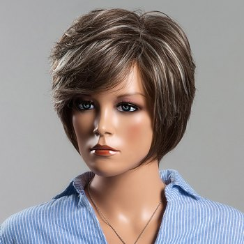 Trendy Straight Layered Human Hair Mixed Color Siv Hair Capless Wig For Women