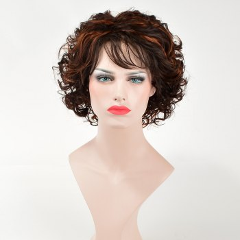 Trendy Short Brown Mixed Synthetic Fluffy Curly Side Bang Capless Wig For Women