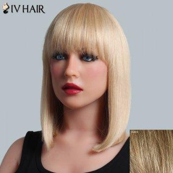 Trendy Full Bang Capless Siv Hair Medium Silky Straight Human Hair Wig For Women