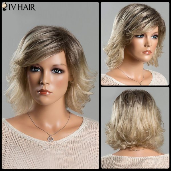 Short Fluffy Tail Upwards Fashion Mixed Color Women's Side Bang Siv Human Hair Wig