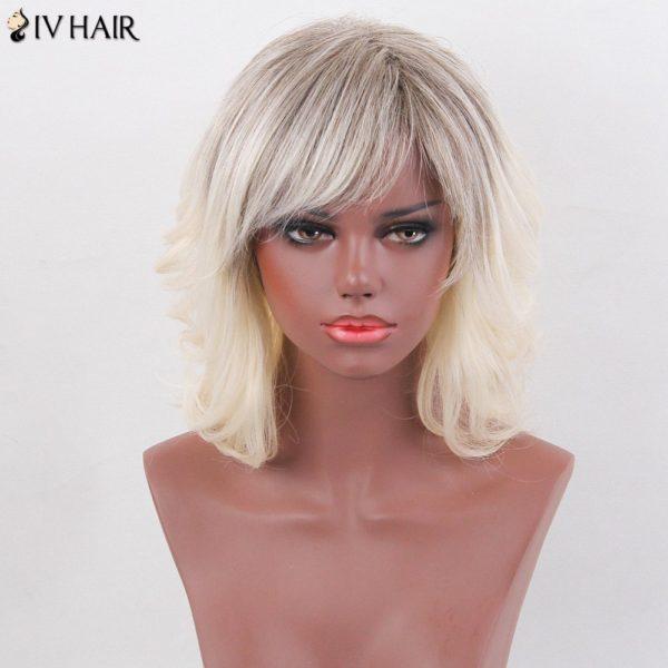Siv Hair Layered Medium Side Bang Slightly Curly Colormix Human Hair Wig