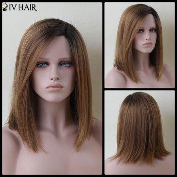 Medium Mixed Color Side Parting Straight Siv Human Hair Wig