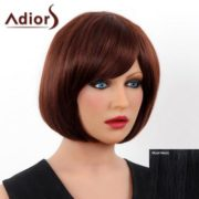 Elegant Short Side Bang Real Human Hair Bob Style Straight Capless Adiors Wig For Women