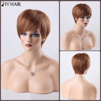 Boy Cut Short Side Bang Straight Siv Human Hair Wig