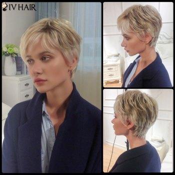 Siv Layered Short Side Bang Straight Human Hair Wig