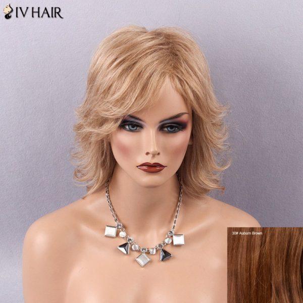 Siv Hair Medium Shaggy Tail Upwards Sided Bang Human Hair Wig