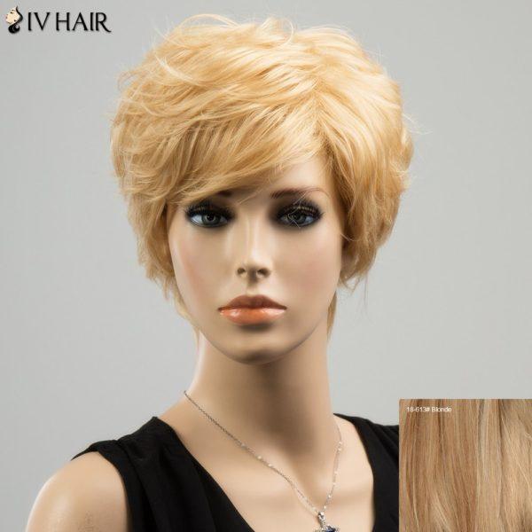 Siv Short Straight Side Bang Layered Human Hair Wig