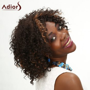 Adiors Highlight Medium Middle Parting Kinky Curly Synthetic Wig