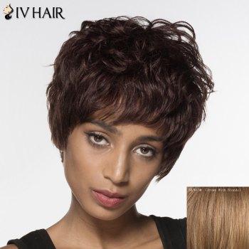 Short Neat Bang Siv Hair Fluffy Curly Handsome Human Hair Wig
