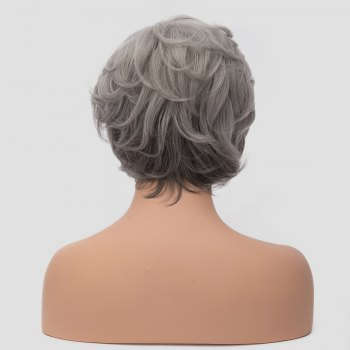 Towheaded Fashion Silver White Mixed Gray Side Bang Short Capless Synthetic Curly Women's Wig