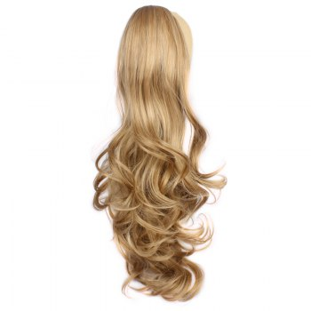 Fluffy Wave Claw Clip Vogue Long Brown Blonde Mixed Synthetic Ponytail For Women